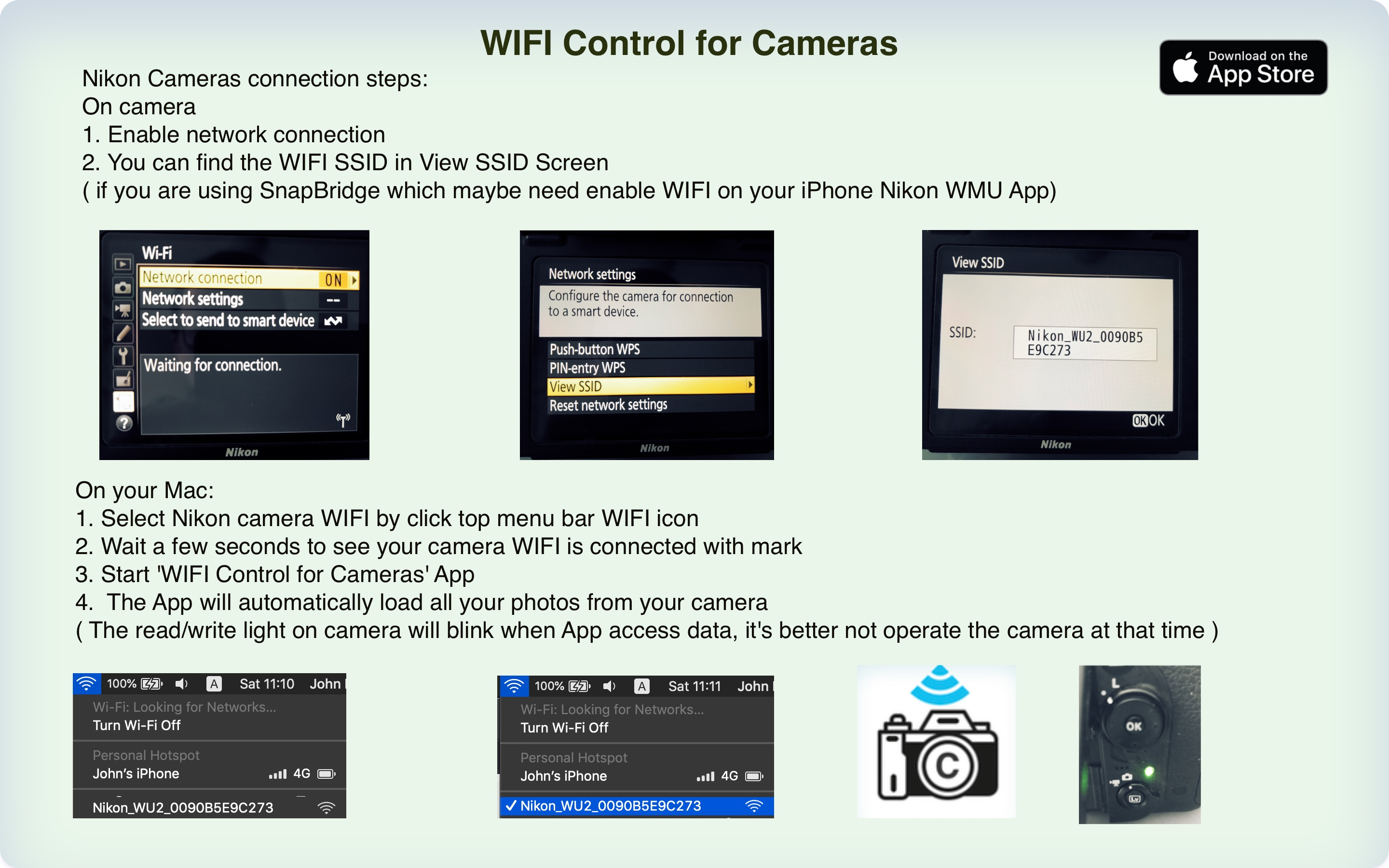 WIFI Control for Cameras  ( Nikon WIFI connection steps )